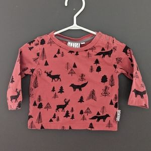 Long sleeve forest print 3-6 month top